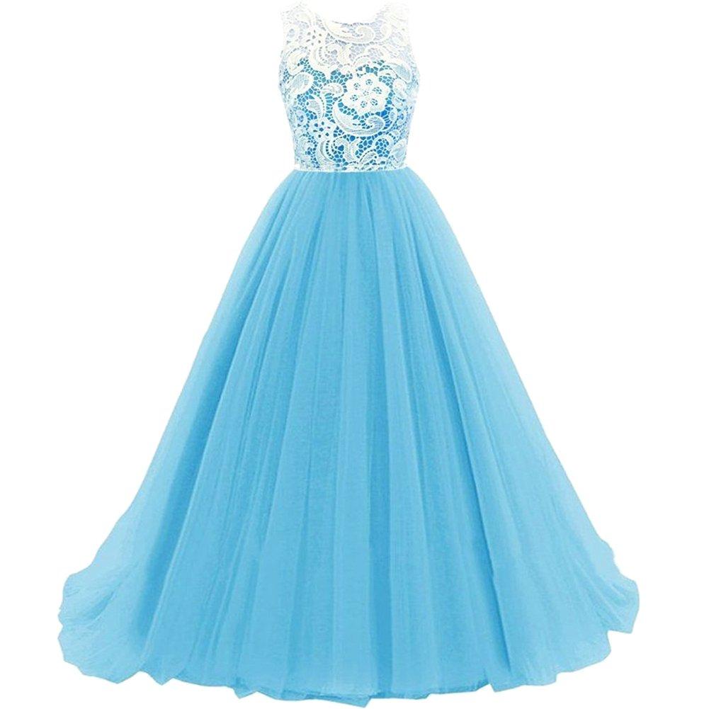 Bleu 12 ans KekeHouse Longue Robe de Soirée Bal Cérémonie Fille Enfant Femme Mariage Fête En A