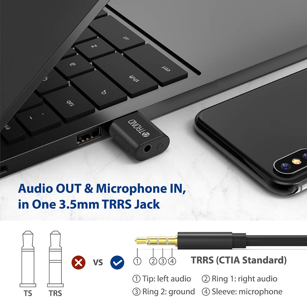 TROND External USB Audio Adapter Sound Card, with One 3.5mm Aux TRRS Jack for Integrated Audio Out & Microphone in by TROND (Image #4)