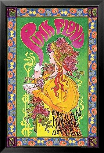 Buyartforless If Aq 241240 36X24 1 25 Black Framed Pink Floyd London March 1966 Marquee Concert By Bob Masse 36X24 Music Art Print Poster