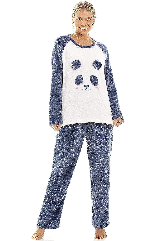 Camille Blu Supersoft Velour Vello Panda Personaggio Set da Pigiama