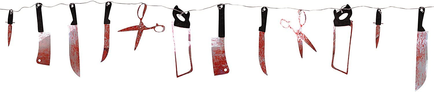 Super Z Outlet 7.5 ft Long Paper Bloody Splatter Halloween Horror Scary Metallic Butcher Knife Chainsaw Weapon Killer Tools Garland Party Decoration Haunted House Banner