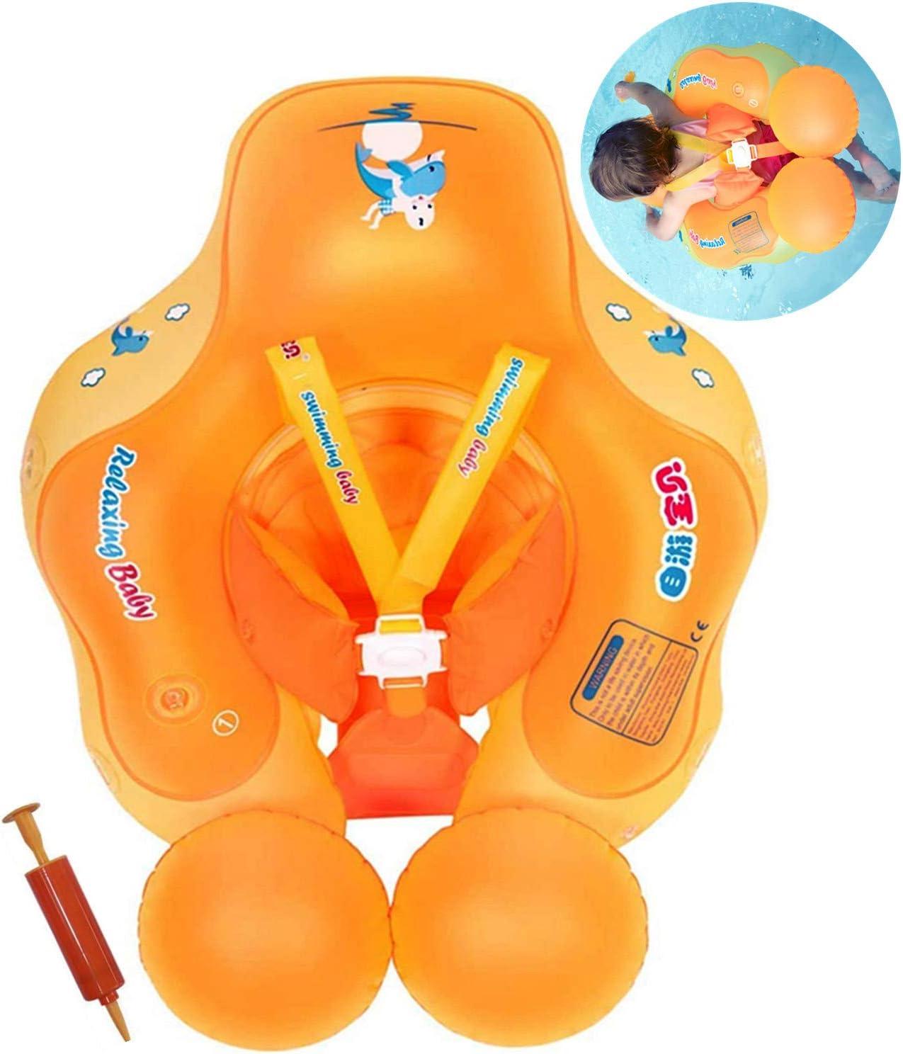 Flotador de Natación para Bebés con Asiento Anillo,Bebé Recién Nacido Aprende a Nadar Entrenador Inflable Flotador Ajustable para Piscinas para Bebés,Anillo de Natación para Bebés (6-36 Meses,L)