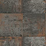 Metallic Metal Panel Wallpaper Grey and Copper Holden 98810