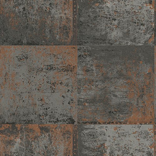 Metallic Metal Panel Wallpaper Grey and Copper Holden 98810 by Holden Decor