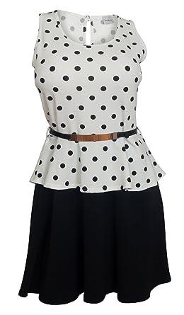 eVogues Plus Size Sleeveless Polka Dot Peplum Dress White - 1X at ...