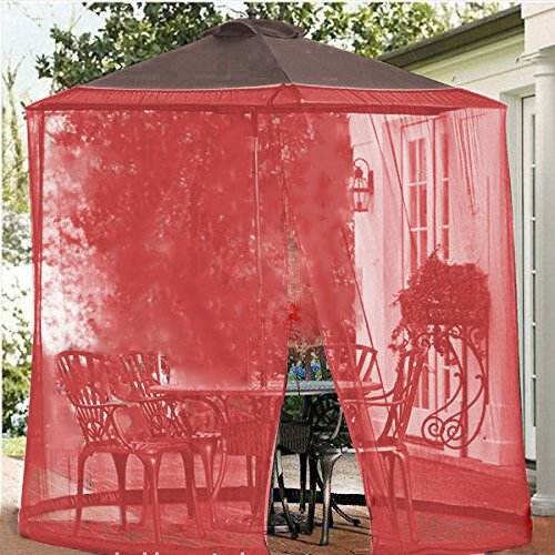 Shatex Umbrella Mosquito Patio Table Screen and net 7.5'W x 7.2'H Red