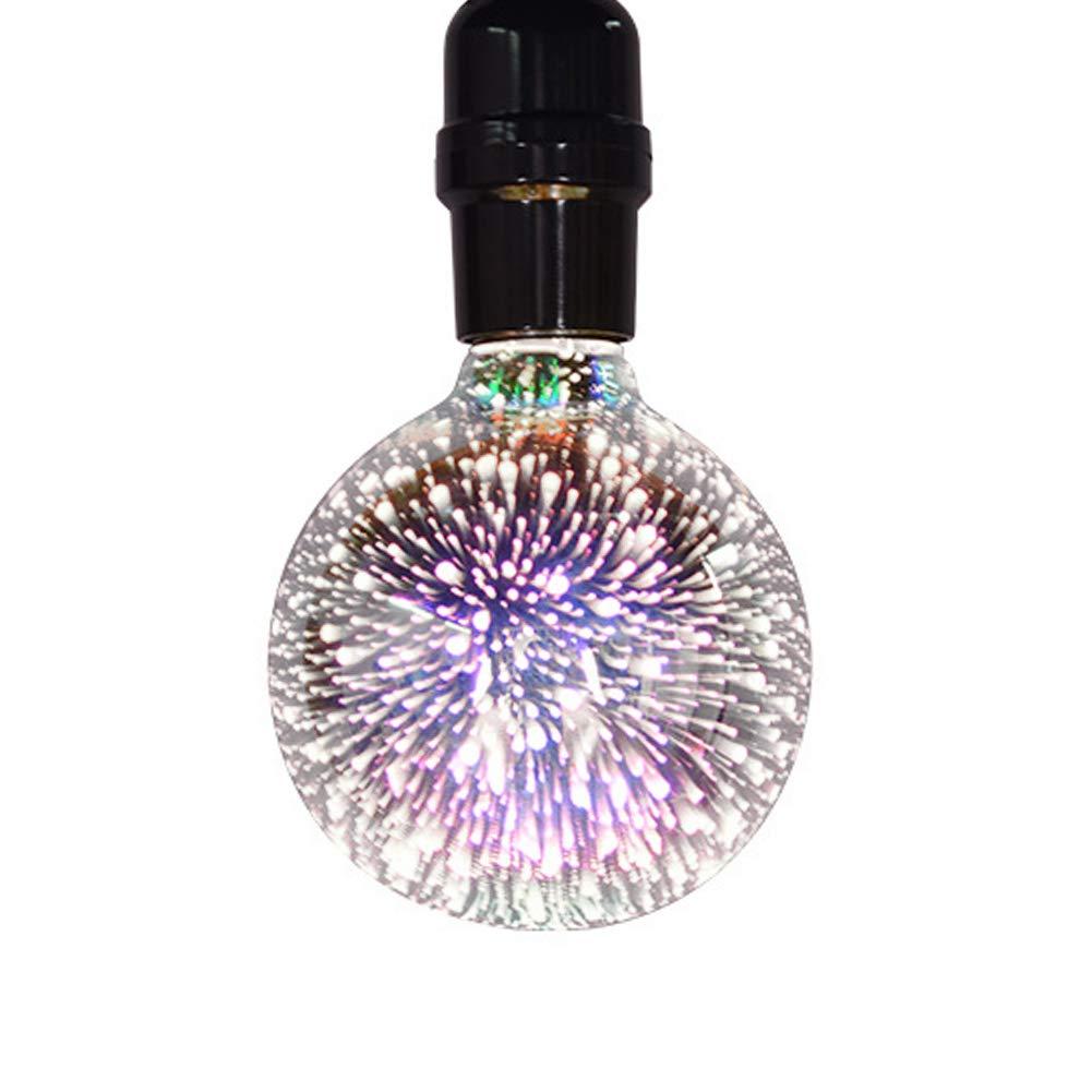 Colorful Firework Bulb, LED Night Light, 4W G95 E27 Bulb Base Scene 3D Vintage Bombillas Ambient Lighting Lamp Decorative Ornament for Home Bar Wedding Party (White Light)