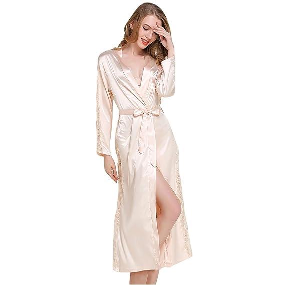 ecbed42374ce Casa Peignoir Satin Robe de Chambre Kimono, Femme Sortie de Bain Longue avec  Ceinture Dentelle