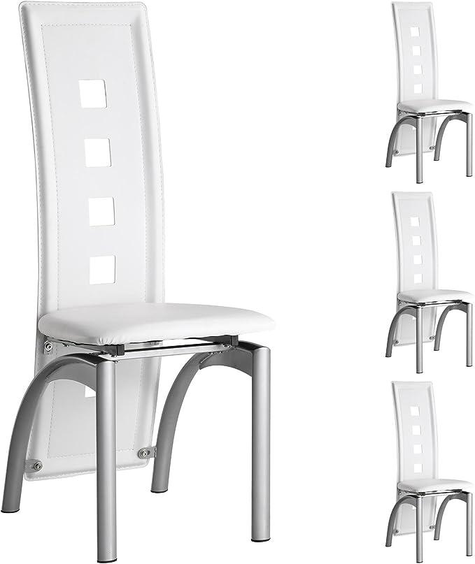 IDIMEX Lot de 4 chaises de Salle à Manger Monica Dossier Design avec  piètement laqué Couleur Aluminium et revêtement synthétique Blanc