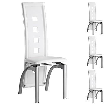 IDIMEX 4er Set Esszimmerstuhl Monica Essgruppe Küchenstuhl Stühle Esszimmer,  Weiß