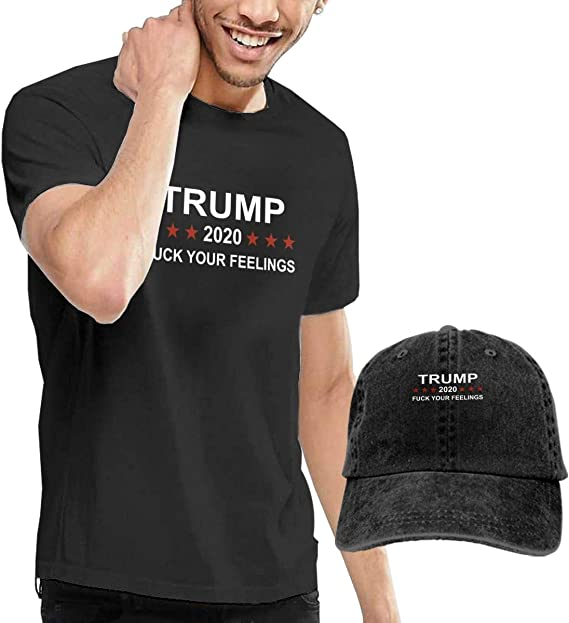 QQWBB Trump 2020 Fuck Your Feeling Shirt Short Sleeve Denim Hat Male