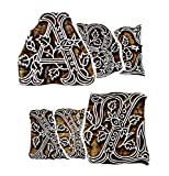 Hashcart Handicrafted Wooden Blocks Printing Stapms A to Z (Set of 26) Hand-Carved for Saree Border Making Pottery Crafts Textile Printing