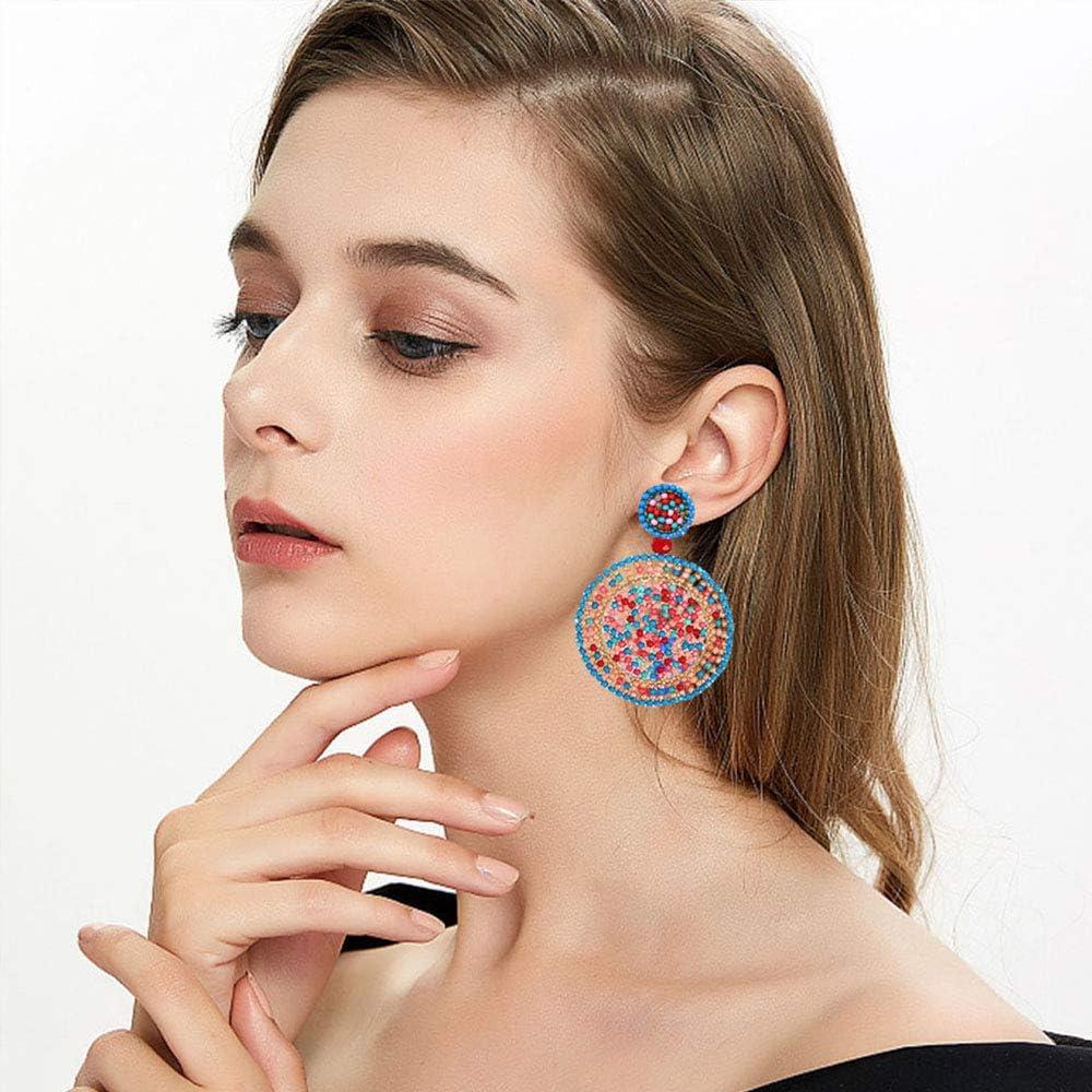 Sunmoon Bohamian Handmade Beads Earrings for women Statement Round Drop Dangle Colorful Beaded Round Earrings