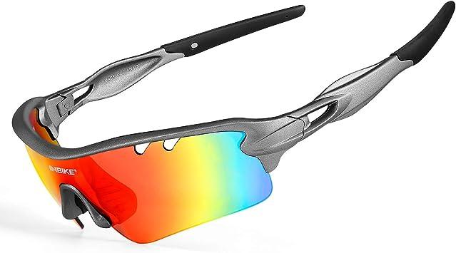 Inbike Gafas de Sol Polarizadas Para Ciclismo con 5 Lentes Intercambiables Uv400 y Montura de Tr-90, Gafas Para Mtb Bicicleta Montaña 100% de Protección Uv(Gris): Amazon.es: Deportes y aire libre