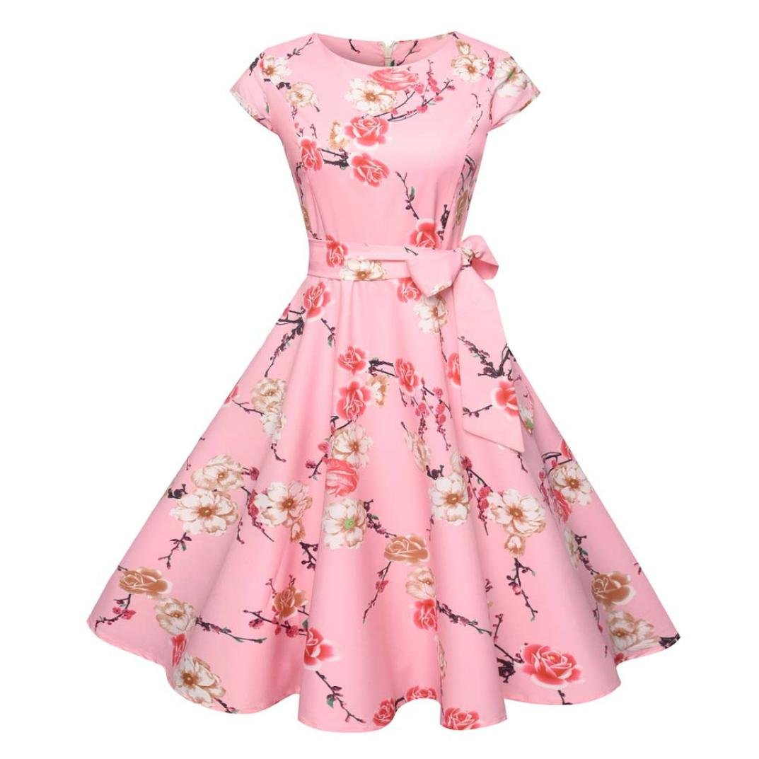 Kimloog Swing Dress, Women Floral Printed Short Sleeve Bowknot Casual Hem Party Sundress (M, Pink)