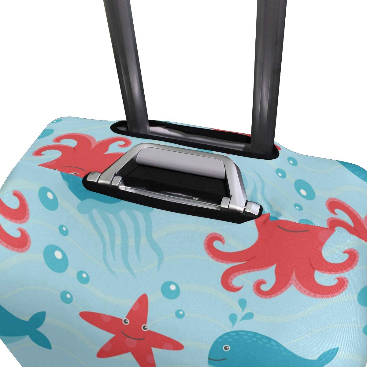FOLPPLY Beach Starfish Octopus Dolphin Luggage Cover Baggage Suitcase Travel Protector Fit for 18-32 Inch