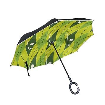 MAILIM Paraguas Reversible para Coche, Diseño geométrico, Color Verde
