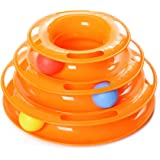 Ka Tee Intelligent Three Layers Cat Toys,Track Towers with Colorful Balls,Interactive Pet Toys,Crazy Turntable,for Kittens Toys (Orange)