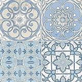 Manhattan Comfort NWKE29950 Radford Tiled Kitchen Textured Wallpaper, Blue Cream