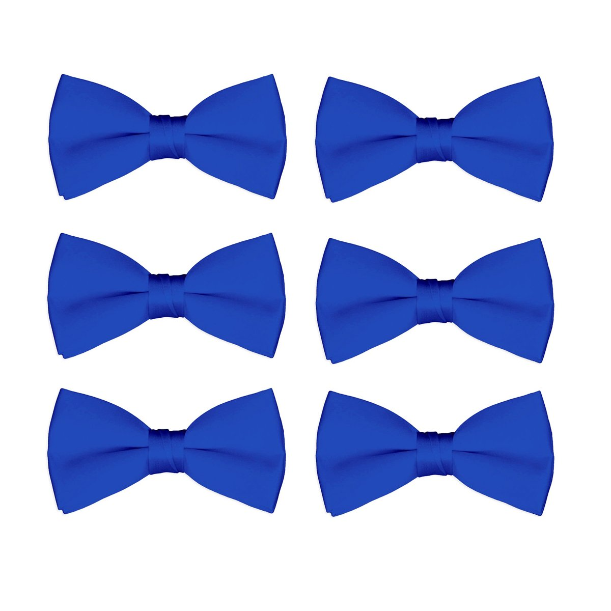 Boys Bow Tie Wholesale 6 Pack Children Pre-Tied Formal Tuxedo Bowties Kids Solid Ties (Royal)