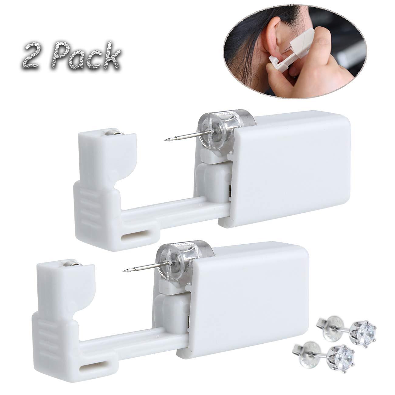 2 Pack Self Ear Piercing Gun Disposable Self Ear Piercing Gun Kit Safety Ear Piercing Gun Kit Tool - 5mm Crystal