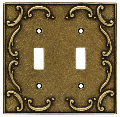 Brainerd 126349 Casual French Lace Double Toggle Switch Wall Plate / Switch Plate / Cover, Burnished Antique Brass - Brainerd French Lace