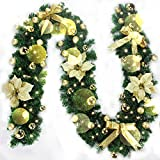 Christmas Wreath Garland Decoration Xmas Festive Wreath with Berries and Pinecones (Gold With Usb Light String)