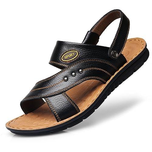 Sandali da Uomo - Fodera in Neoprene Scarpe Estive Gancetti E Cinghie Cinturino Intersuola Sandali in Vera Pelle di Vacchetta - Passeggiata di…
