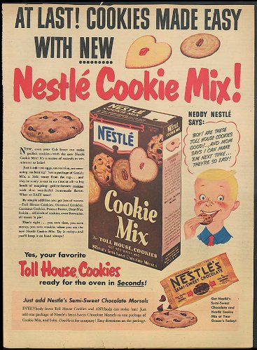 At last! Cookies made easy with new Nestle Cookie Mix! Ad 1951 toll house by The Jumping Frog