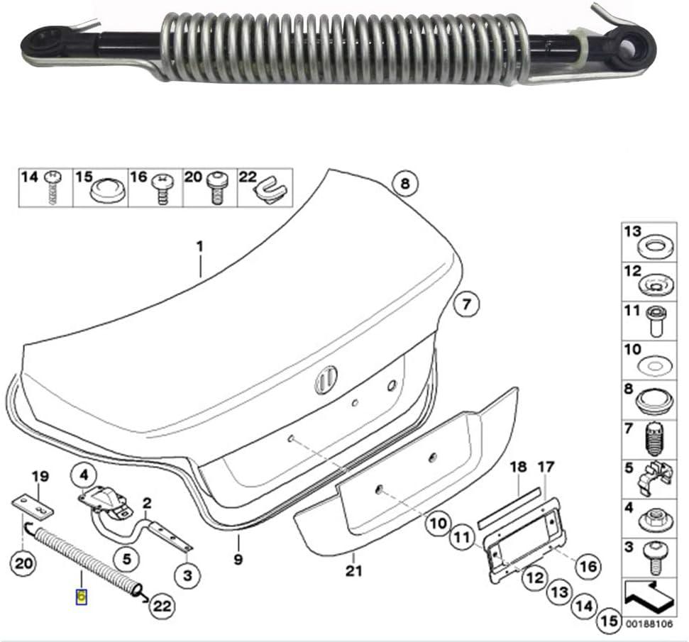 Soporte de levantamiento de la tapa del maletero Resorte amortiguador 51247141490 Ajuste para BMW 5 Serie E60