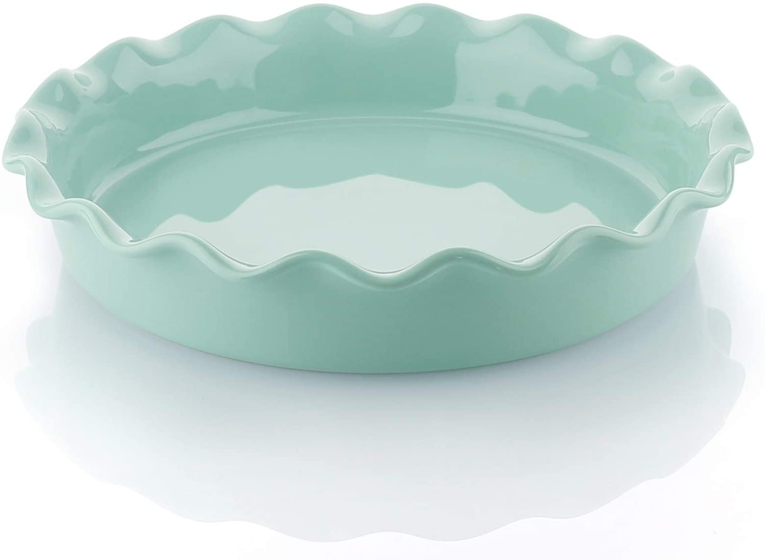 Sweese 518.109 Porcelain Pie Pan, Round Pie Plate Baking Dish with Ruffled Edge, 10.5 Inches, Mint Green