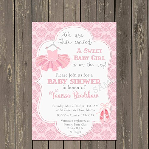 Ballerina Baby Shower Invitations - Ballerina Baby Shower Invitation in Pink Damask with Tutu, Set of 10 invitations with white envelopes