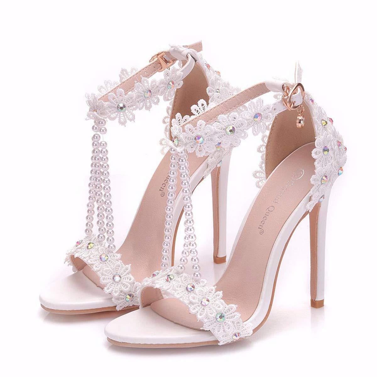 GTVERNH Damenschuhe Spitze Spitze Spitze Perlen Sandalen Braut - Schuhe Dünnen Absätzen Fisch Münder Hohe Schuhe Sandalen Sandalen Blaumen. ababc9