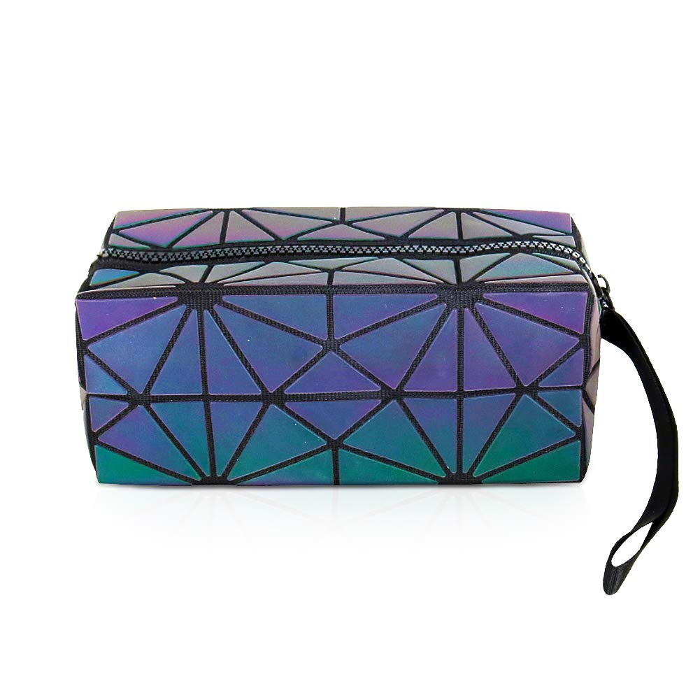 Beautier Holographic Reflective Luminous Handbag Lattice Design Geometric Bag Unique Purses Soft PU Leather Wristlet Clutch Cell Phone Purse (rectangle)