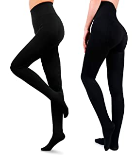 Panty hose cotton thermal fleece lined tights Fleecy Cosey BLACK closed foot