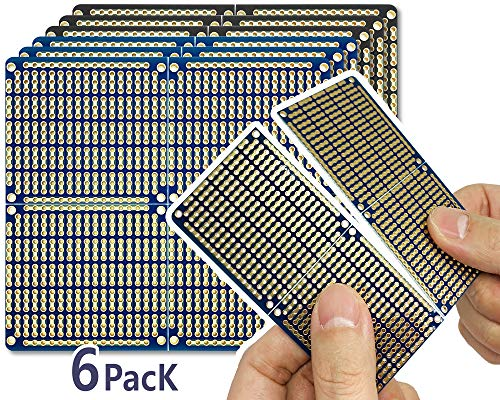 """PCB Prototype Board, Snappable Strip Board with Power Rails for Arduino and DIY Electronics, Gold-Plated, 3.8""""x3.5"""" (6 Pack, 3Blue+3Black)"""