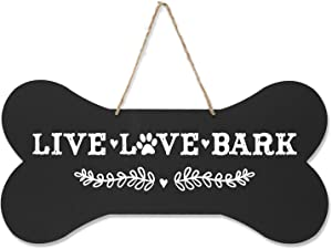 """LifeSong Milestones Pet Quote Dog Bone Wall Hanging Sign, Dog Lovers Gifts for Women, Dog Owner Gift for Home Decor, 8"""" x 16"""" (Black Live Love Bark)"""