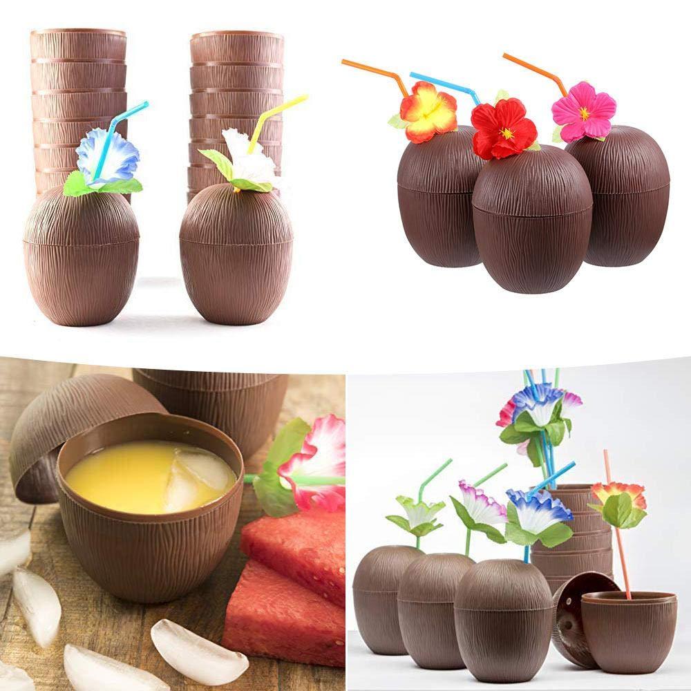 Suministros para Actividades de Verano Womdee Hawaiian Taza de Coco Taza de Bebida Divertida Fiesta tem/ática de Playa Fiesta de cumplea/ños 12 Piezas con pajitas de Flores ni/ños Adultos