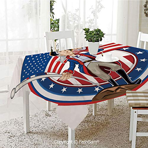 Premium Waterproof Table Cover American Patriot Emblem Cartoon Style Fourth of July Decor Country History Table Protectors for Family Dinners (W55 xL72)