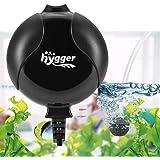 Hygger Pompa d'Aria per Acquario Silenziosa 420mL /1.5W, Mini Pompa Ossigeno ad Alte Prestazioni Durevole Pompa ad Aria di Ossigeno per Acquario di 50 litres (Nero)