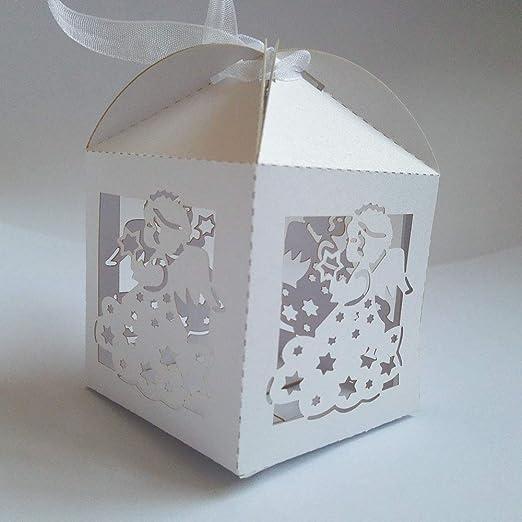 Daicaffar – Bolsas de regalo y suministros de envoltura – 50 cajas de regalo de ángel para baby shower bautismo cumpleaños primera comunión bautizo fiesta bolsa 5 x 5 x 8 cm – 1 pieza: Amazon.es: Hogar