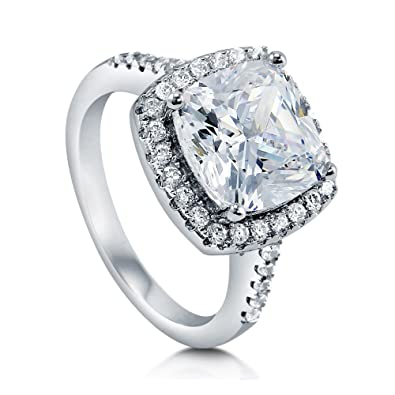 9e8a38d40 BERRICLE Rhodium Plated Sterling Silver Cushion Cut Cubic Zirconia CZ Halo  Engagement Ring Size 4