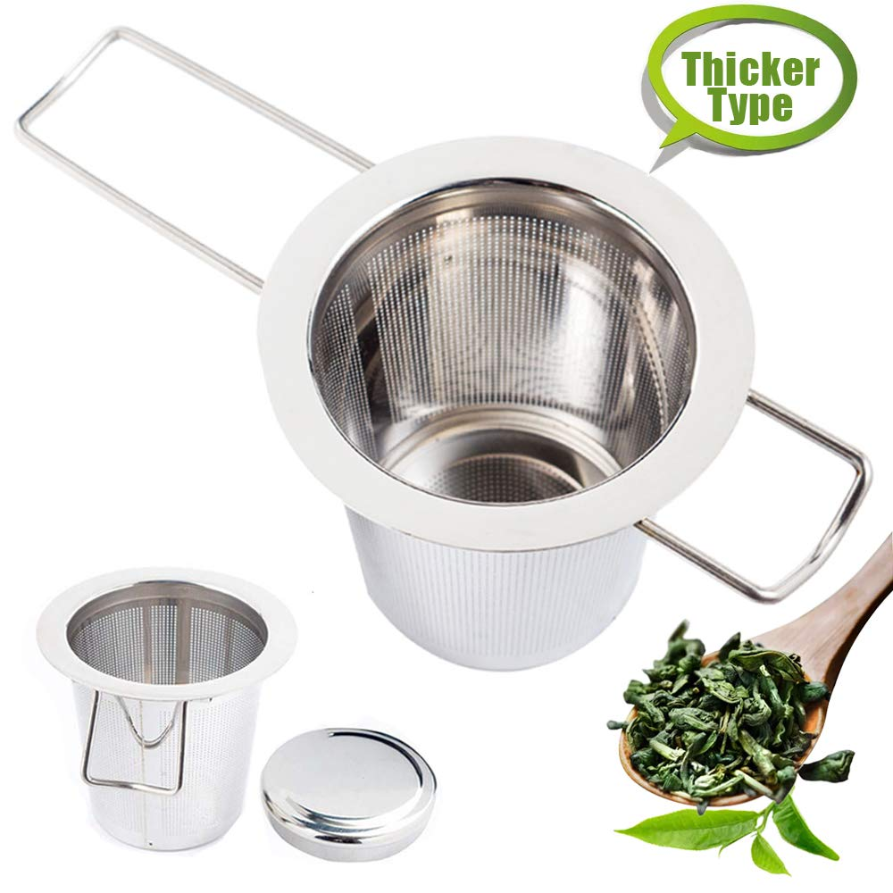 HuluBB Tea Filter Infuser,Stainless Steel Tea Strainer with Handle for Loose Leaf Grain Tea Cups, Mugs,and Pots