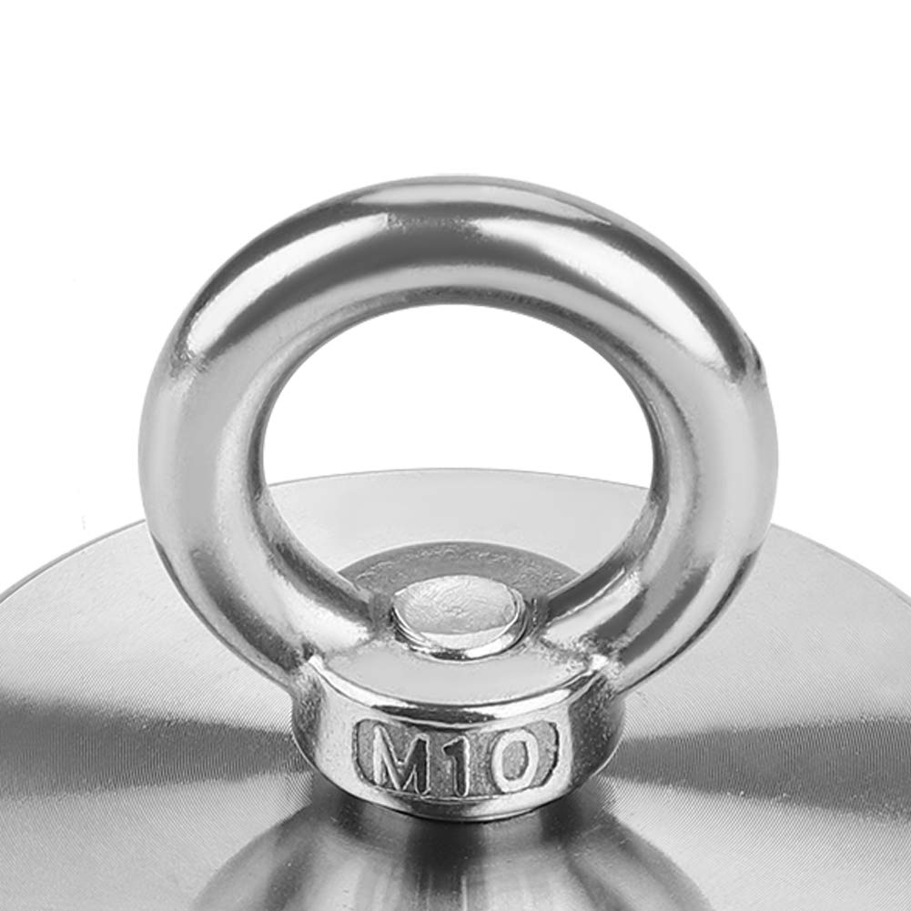 60mm dia Neodymium Clamping Magnet 110kg Pull Powerful Pulling Force Round Neodymium Fishing Magnet Rare Earth Magnet with Countersunk Hole and Eyebolt
