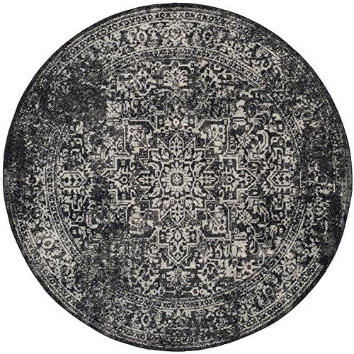 "Safavieh Evoke Collection EVK256R Vintage Oriental Black and Grey Round Area Rug (6'7\"" Diameter)"
