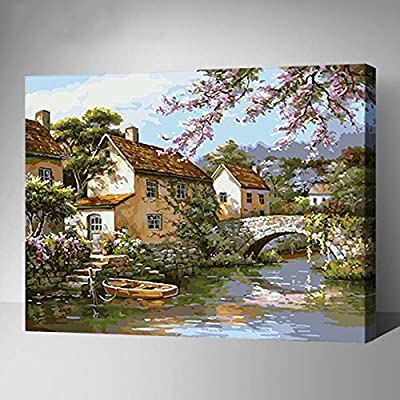 MADE4U Paint By Numbers Combination Kits of Canvases Mounted on Wood Frame with Brushes and Paints for Adults Children Seniors Junior DIY Beginner Lever Acrylics Painting Kits on Canvas (Countryside