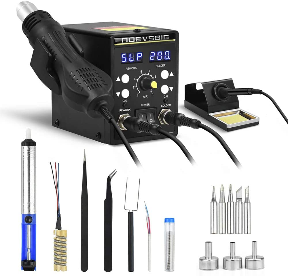 Rework Soldering Station Kit with Heating Core-Replacement 8786D 2 in 1 Hot Air Rework and Soldering Iron Station Sleep Function