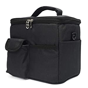 ZIIYAN Reusable Drink Carrier for Delivery and Food Delivery Bag, a Insulated Travel Coffee Carrier, Beverage Caddy Bag, Lunch Bag with Handle Shoulder Strap and Removable Dividers (Black)