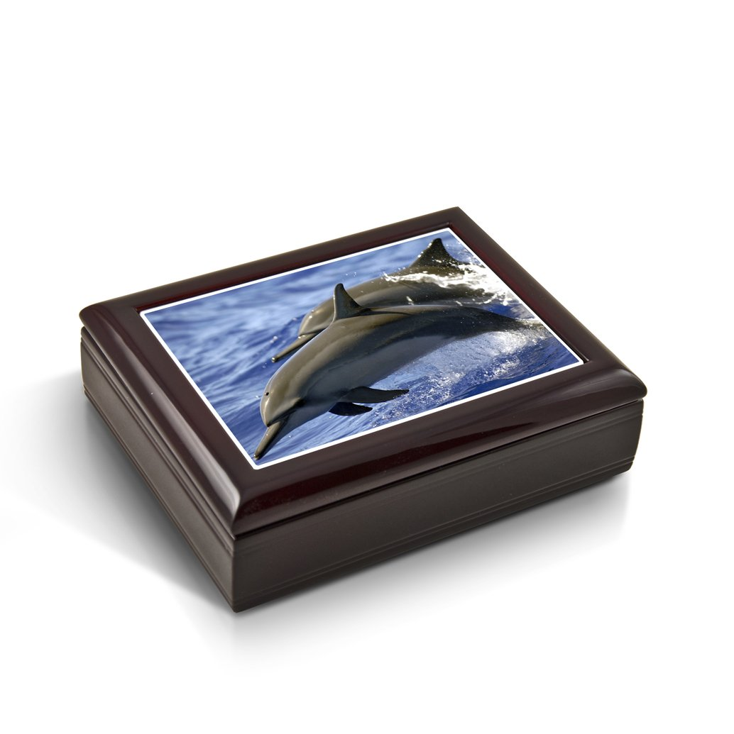 Graceful Dolphin Duo Frolicking Through Waves Tile Musical Jewelry Box - Rock of Ages - Christian Version