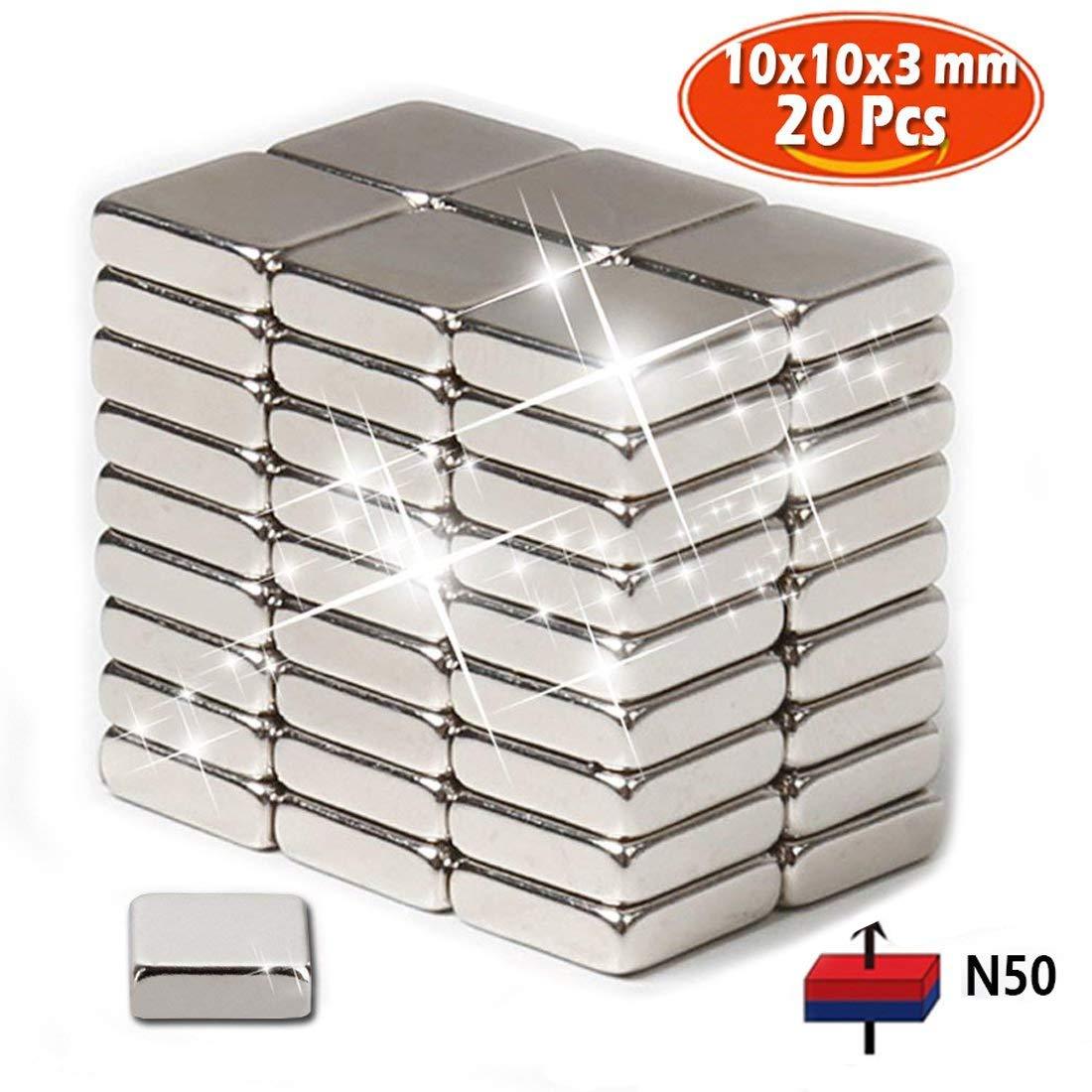 Aimants pour réfrigérateur faits de néodyme N50 (20 PCs) | 10x10 x 3 mm, | Aimants Rare Earth en magnétron pour l'Arts l'artisanat loisirs et organisation de bureau SZSYM